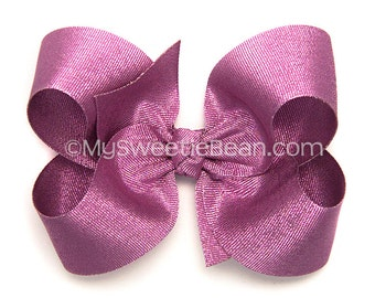 Metallic Pink Hair Bow, Pink Glitter Boutique Bow for Girls, 4 inch Hair Bow, Pink Metallic Bow, Bubble Gum Pink Bow, Baby Toddler Girls