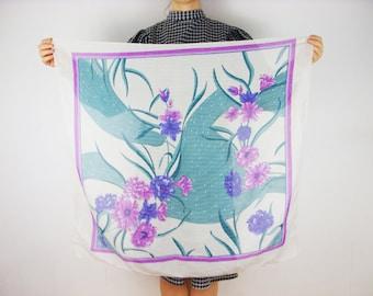 White Floral scarf, vintage shawl