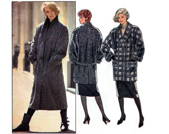 Style 4213 Womens Wrap Coat Shawl Collar Jacket 80s Vintage Sewing Pattern Size Small 10 - 12 Bust 32 1/2 - 34 Inches UNCUT Factory Folded
