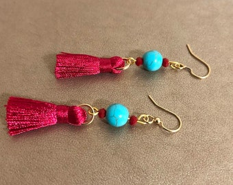 Turquoise Howlite with Red Tassel Earrings