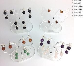 Boucles d'oreilles 'Argent 925', 'Clous ou Puces de 6mm', pierre de lave, ambre véritable, amethyste, aventurine, cornaline, quartz rose