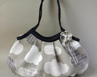 Zippered Large Granny Bag, Linen&Cotton Clouds Gray