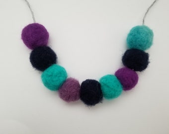 Blue and Purple needle felted pom pom necklace