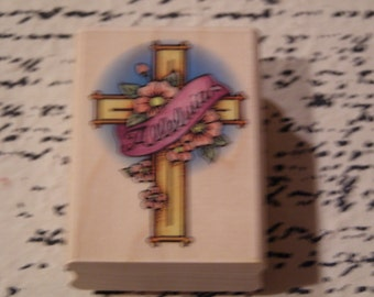 Alleluia Cross wood mounted Rubber Stamp