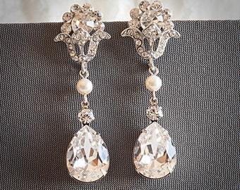 Swarovski Crystal and Pearl Bridal Earrings, Wedding Earrings, Teardrop Chandelier Dangle Earrings, Vintage Style Bridal Jewelry, VOLETA