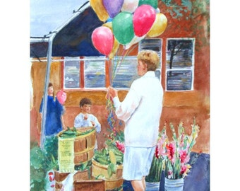 Original Watercolor * THE BALLOON LADY * Art  By Rodriguez
