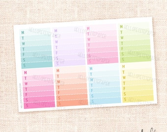 Weekly checklist stickers - 8 Multicolor functional planner stickers