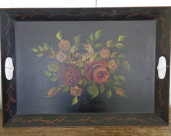 Vintage Tole Painted Decorative Serving Tray, Hand Painted Toleware Tray