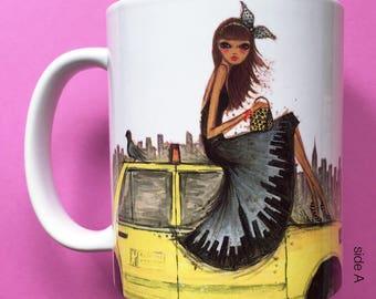 Tyla Taxi, Coffee Mug, Fashion illustration, Bella Pilar, Fashion mug