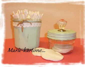 "Glass jars ""Solitaire"" N 2 set of 2 Shabby style jars."