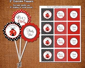 Ladybug Baby Shower Cupcake Toppers Lady Bug Red Black Polka Dot Pattern- Instant Download Digital File