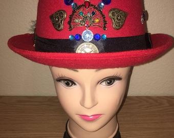 Red Steampunk Derby Hat