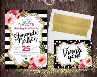Black Stripe Gold Glitter Floral Kate BABY SHOWER INVITE and Thank You Card  --  Personalized Digital Printable File