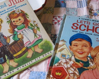 Two VIntage 1950s Books Jack and Jill Illustrated by Anne Leaf and Lets Go to School by Hazel Hoecker