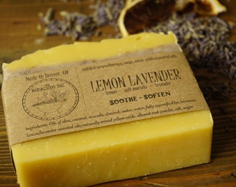 Lemon Lavender Soap | All Natural Soap, Artisan Soap, Aromatherapy Soap, Luxury Soap, Salt Bar, Essential Oils Soap, Sea Salt Soap