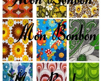 Vintage Retro Fabric ATC Digital Download of Background Images Collage Sheet   No.1100