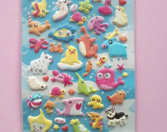 Puffy stickers ocean animals with googly eyes, spongy