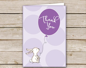 Purple Bunny Thank-You Card - Instant Download - Purple Bunny Baby Shower Thank-You Cards - Lavender Shower Thank-You Cards