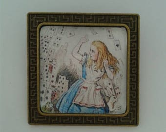 Square Bronze 'Alice in Wonderland' Brooch