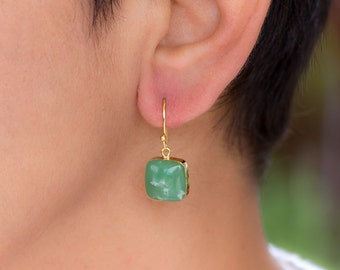 Australian Jade dangle silver earrings Green drop earrings Puffy square Jade  Gift for her Gold Crystal Earrings Gift women Gold Dipped