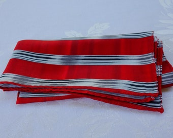 Vintage silk pocket square hand rolled edges made in China red striped with grey and black