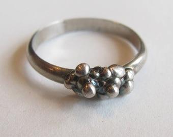 Sterling Silver Thin Rectangular Dot Ring, Size 10