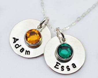 Personalized Birthstone Necklace, Mothers Necklace, Mommy Jewelry, Name Necklace with Birthstones, Gift for Mom, Mom Necklace with Kids Name