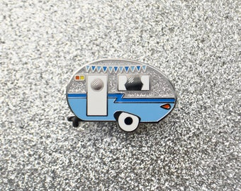 SALE - Winter Camper Enamel Pin - Limited Variant - Retro Pin - Vintage Camper - Caravan - Lapel Pin - Hard Enamel Pin - Camping