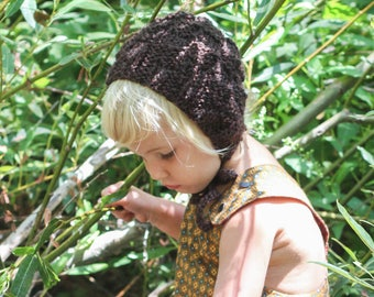 Knit Baby Bonnet, Brown Handmade Baby Bonnet, Winter Bonnet, Knit Baby Hat, Boy Bonnet, Girl Bonnet