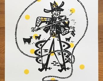 Vintage Fiddling Cowboy Screenprint