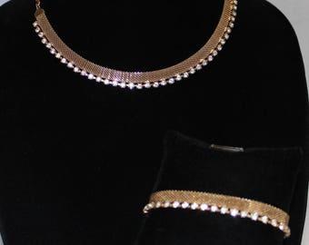 Pretty Vintage Mesh Rhinestone Necklace and Bracelet Set