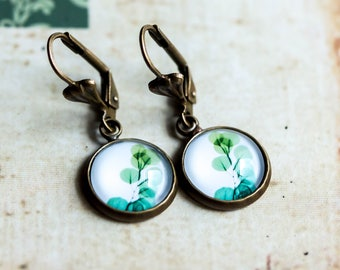 Leaf earrings, Vintage earrings, antique earrings, nature Earrings, gift for woman, friendship earrings, gift for mother, tree,jewelry, leaf