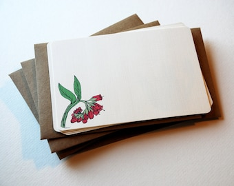 The Strawberry Flowers Notecard Set in Pink, Green and Cream - Set of 6 flat Notecards and Envelopes