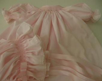 Smocked Infant Bishop Dress ,Bonnet & Bloomers -Special Order