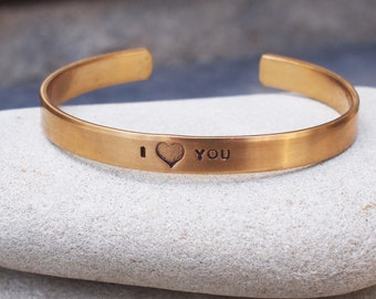 Mother's Day Bracelet, I LOVE YOU Cuff, Heart Cuff, Heart Bracelet, Bronze Anniversary