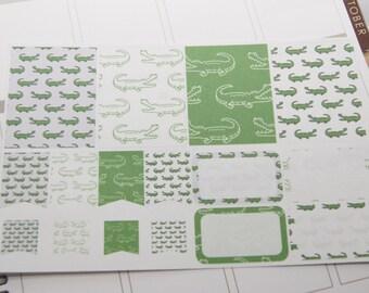 16 Planner Stickers Scrapbook Stickers Alligator Gator Stickers eclp PS96 Fits Erin Condren