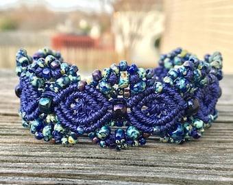 SALE Micro-Macrame Beaded Cuff Bracelet - Dark Cobalt Blue Picasso