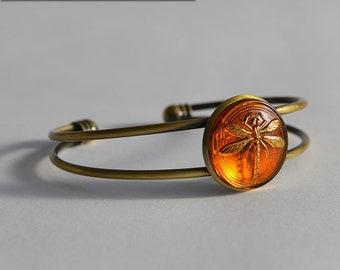 Dragonfly in Amber (Czech Glass) Bronze Cuff Bracelet - Claire Fraser Sassenach Jewelry - Outlander inspired