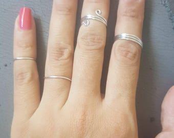 Silver Midi Rings - Ajustable Midi Rings, Silver Stackable Set, Midi Knuckle Ring, Set of Midi Rings, Midi Rings Set, Silver Knuckle Rings.