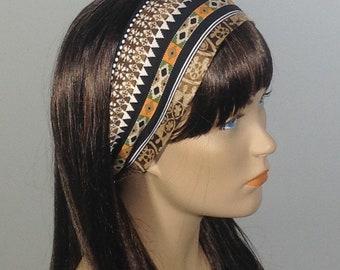 Brown African print headband