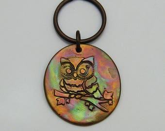 Handmade Copper Owl Keychain, Colorful Owl Keychain, Colorful Copper Keychain, Owl Lover Keychain, Big Keychain, Bird Keychain, Cute