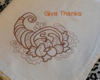 Autumn Fall Thanksgiving flour sack towel embroidered