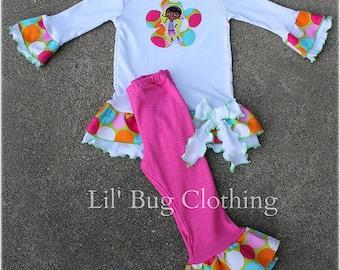 Doc McStuffins Birthday Party GIrls Outfit, Doc Mcstuffins Tee & Pant Outfit, Custom Boutique Doc Mcstuffins Girl Clothes