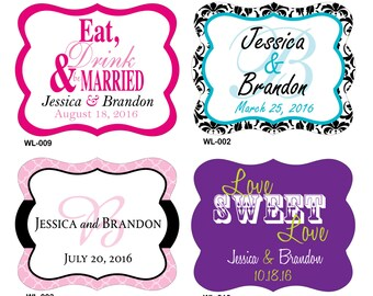 112 - 2.5 x 2 inch Die Cut Personalized Waterproof Mini Wine Bottle Wedding Labels - hundreds designs - change designs any color or wording