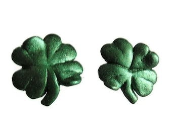 OoAK, Earrings, Luck of the Irish, Hand sculptured, Handmade Green 4 leaf Shamrock ear post perfect for Saint Patrick's