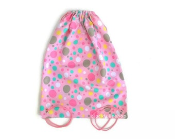 Pink Backpack Fairy Kei Tote Bag Polka Dots Canvas Drawstring Backpacks For Girls Lightweight Bags