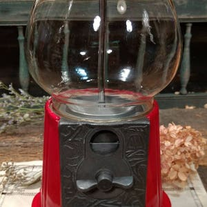 Fun Vintage Gumball Machine With Red Metal Base And Glass Globe / Nostalgic  Home Decor /