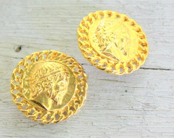 Roman Earrings Cesar Italian Gold Tone Clip on
