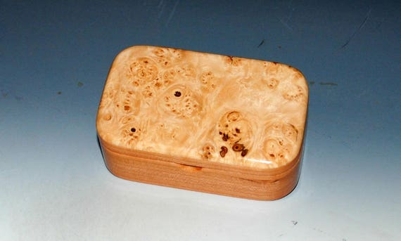 Wooden Trinket Box - Wood Box of Maple Burl on Cherry, Treasure Box, Small Jewelry Box, Keepsake Box, Stash Box- Small Wooden Box - Box Lid
