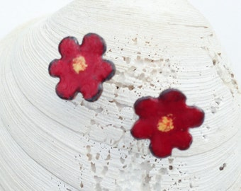 Red Flower Earrings, WildFlower Studs, Handmade Torch Enamel, Organic Look, Copper and Sterling Silver Posts Boho Chic Bohemian Rustic Style